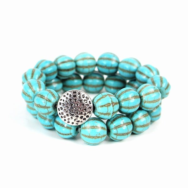 Pretty Little Style Silvertone Charm Turquoise Bead Bracelets