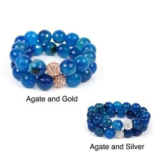 Pretty Little Style Silvertone Rhinestone Agate Bead Bracelet Set