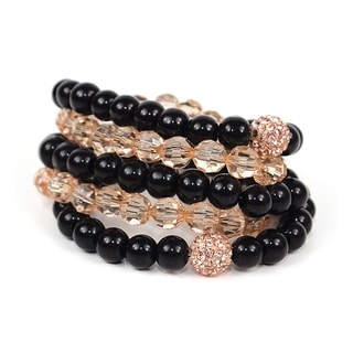 Pretty Little Style Goldtone Rhinestone Glass Bead Bracelets
