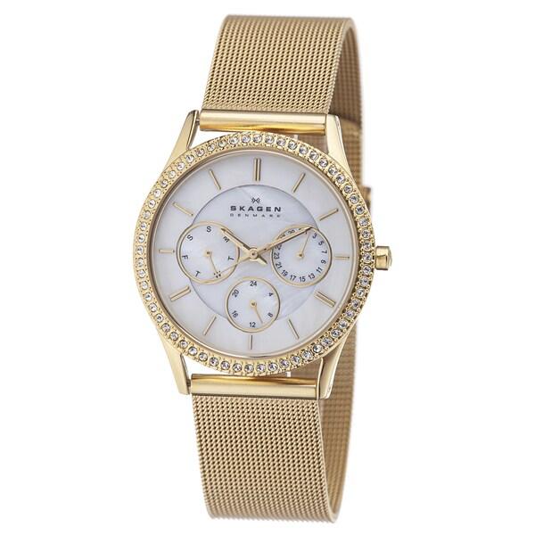 Skagen Women's Goldtone Crystal-accented Watch