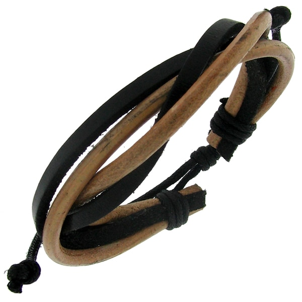 Black and Brown Leather Cord Adjustable Bracelet