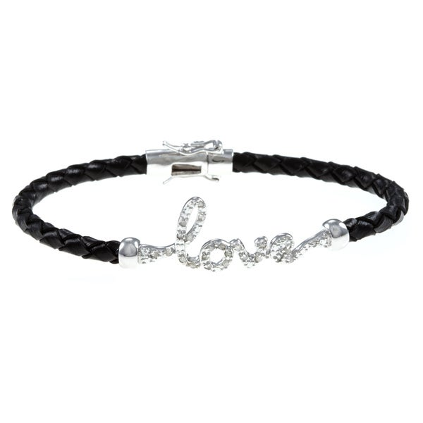 Silver and Black Leather 1/4ct TDW Diamond 'Love' Bracelet (J-K, I3)