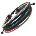 Leather and Colored Cotton Cord Adjustable Bracelet