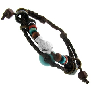 Leather and Cotton Multi-layered Synthetic Bead Adjustable Bracelet