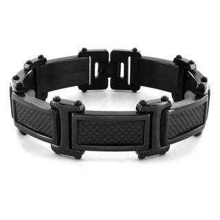 Crucible Black-plated Stainless Steel Men's Carbon Fiber Link Bracelet