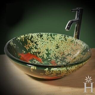 Zen Collection Koi Pond 17-inch Round Glass Vessel Vanity Sink