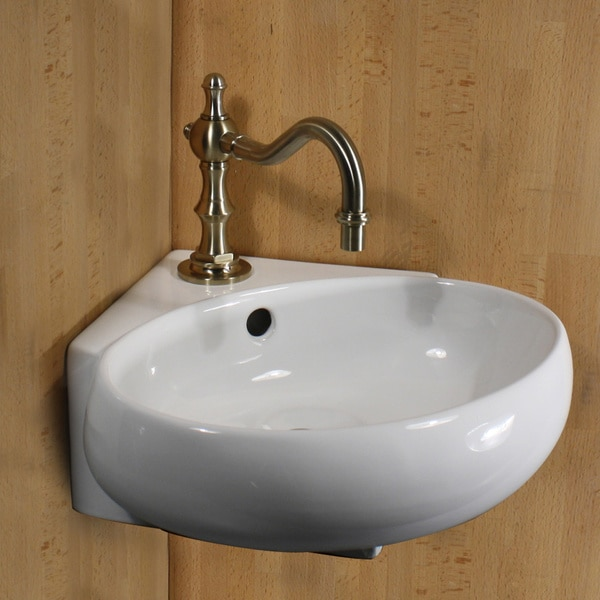 Highpoint Collection Vitreous China 13-inch Oval Corner Wallmount Vessel Vanity Sink