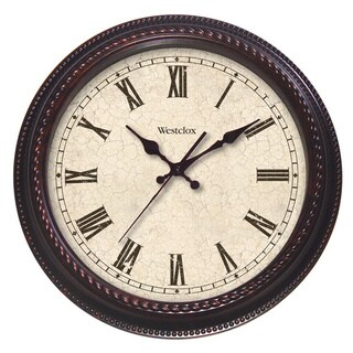 Classic Brown Distressed Cream Oversized 24-inch Clock