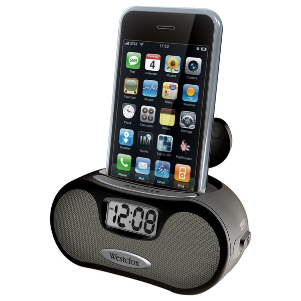 Black LCD Alarm Clock with Speakers
