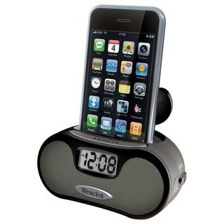 Black LCD Alarm Clock with Speakers