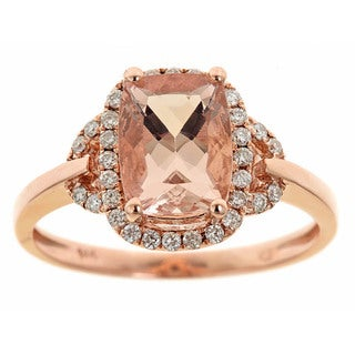 D'yach 14k Rose Gold Morganite and 1/5ct TDW Diamond Ring (G-H, I1-I2)