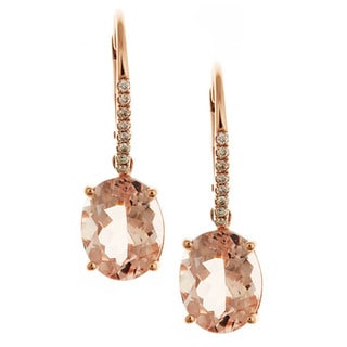 D'yach 14k Rose Gold Morganite and 1/10ct TDW Diamond Earrings (G-H, I1-I2)