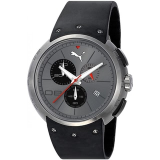 Puma Men's 'Hero' Black Silicone/ Stainless Steel Watch
