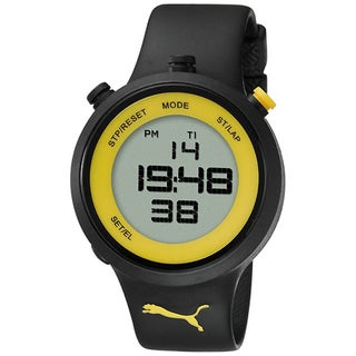 Puma Men's Black/ Yellow Plastic Digital Quartz Watch