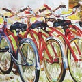 Art in Style 'Bicycles in a Row' Hand-Painted Wall Art