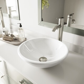 VIGO White Phoenix Stone Glass Vessel Bathroom Sink