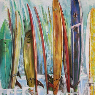 Art in Style 'Surfboards in a Row' Hand-Painted Wall Art