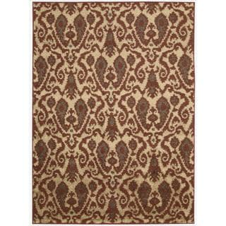 Kindred Damask Ivory/Red Rug (5' x 7')