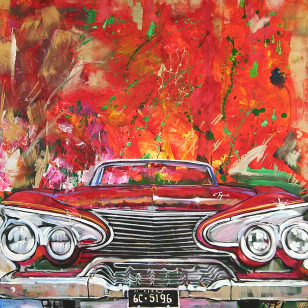 Art in Style 'Retro Red Car' Hand-Painted Canvas Wall Art