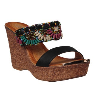 Refresh by Beston Women's 'Maysa-01' Beaded Wedge Sandals