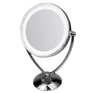 Ovente 1x/ 10x Dimmable Dual-sided Lighted Round Mirror