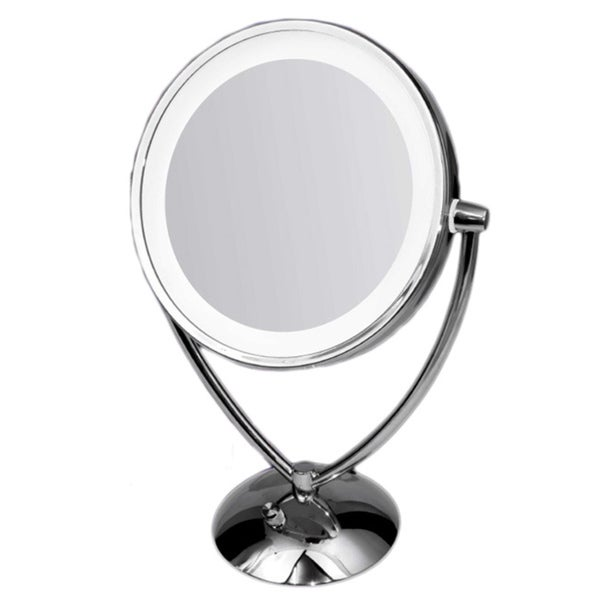 Ovente Dimmable Dual-sided Lighted Round Mirror with 1x/10x Magnification