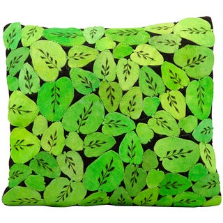 Mina Victory Natural Leather Hide Green Leaf All-over 20 x 20-inch Pillow by Nourison