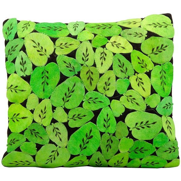 Mina Victory Natural Leather and Hide Leaves Apple Green Throw Pillow (20-inch x 20-inch) by Nourison