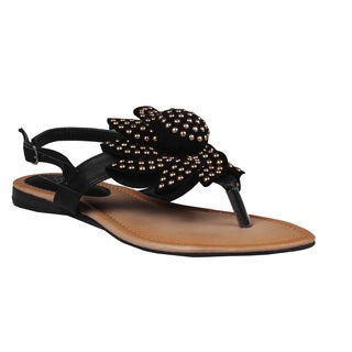 Refresh by Beston Women's Black 'Kiki-02' Gladiator Sandals