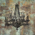 Art in Style 'Black Chandelier' Hand-Painted Canvas Wall Art