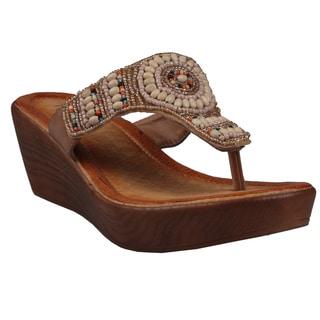 Refresh by Beston Women's 'Juno' Camel Low-Wedge Sandals