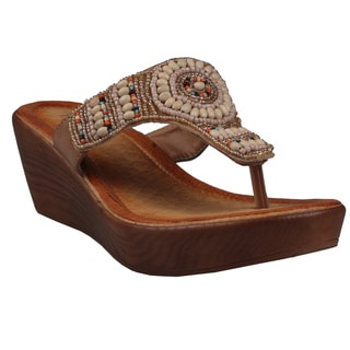 Refresh by Beston Women's 'Juno' Camel Low-Wedge Sandals