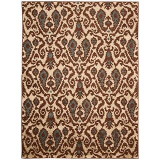 Kindred Damask Ivory/Brown Area Rug (5' x 7')