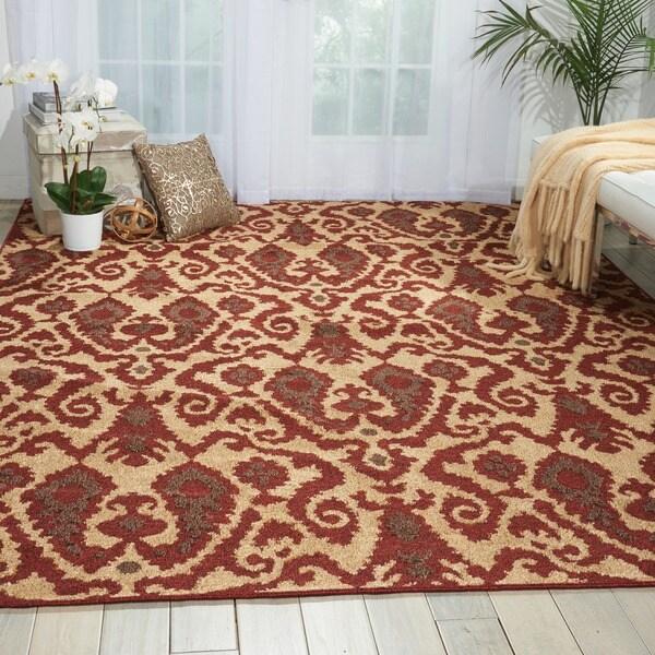 Kindred Damask Ivory/Brown Area Rug (5' x 7') 10590279