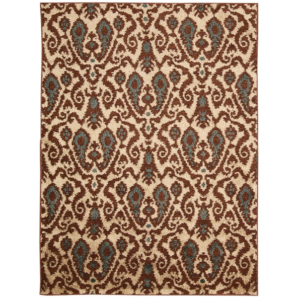 Kindred Damask Ivory/Brown Area Rug (5' x 7')