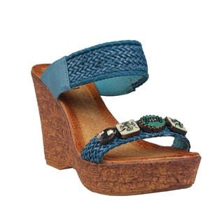 Refresh by Beston Women's 'Maysa-07' Blue Wedge Sandals