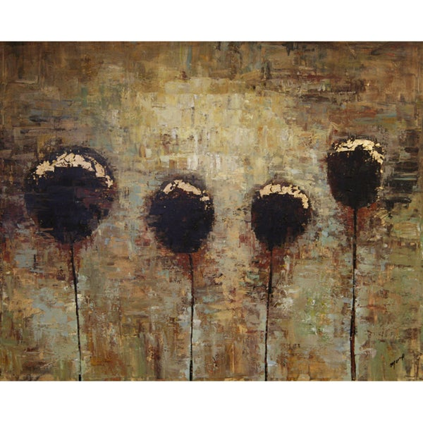 Art in Style 'Dry Flowers in Brown' Hand-Painted Canvas Wall Art