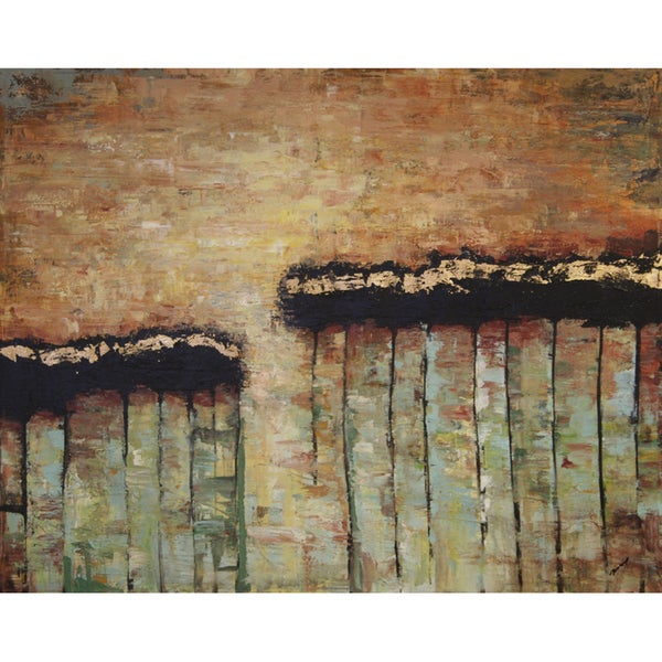 Art in Style 'Absract Flowers in a Line' Hand-Painted Canvas Wall Art