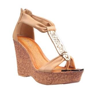 Refresh by Beston Women's Camel 'Maysa-05' T-Strap Wedge Sandals
