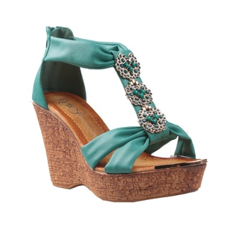 Refresh by Beston Women's 'Maysa-03' T-Strap Wedge Sandals