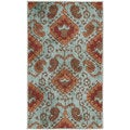 Kindred Bold Ikat Print Aqua Area Rug (2'3 x 3'9)