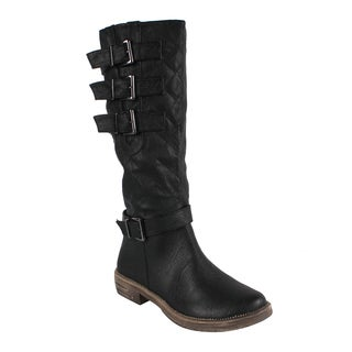 Liliana by Beston Women's 'Harvey-1' Buckled Detail Riding Boots