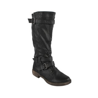 Liliana by Beston Women's 'Harvey-3' Buckled Detail Riding Boots