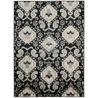 Kindred Ikat Print Black Area Rug (5' x 7')