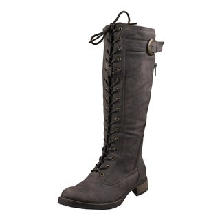 Refresh by Beston Women's Faux Leather 'Cici' Lace-Up Combat Boots