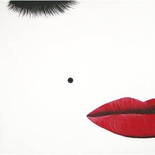 Art in Style 'Red Lips and Beauty Mark' Hand-Painted Canvas Wall Art