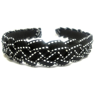 Crawford Corner Shop Black and White Braided Ribbon Headband