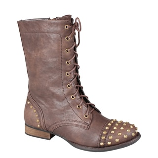Refresh by Beston Women's 'Libby-02' Brown Lace-Up Studded Combat Boots