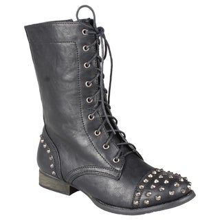 Refresh by Beston Women's 'Libby-02' Lace-up Studded Combat Boots
