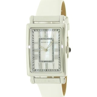 Anne Klein Women's AK-1093MPWT White Leather White Dial Quartz Watch